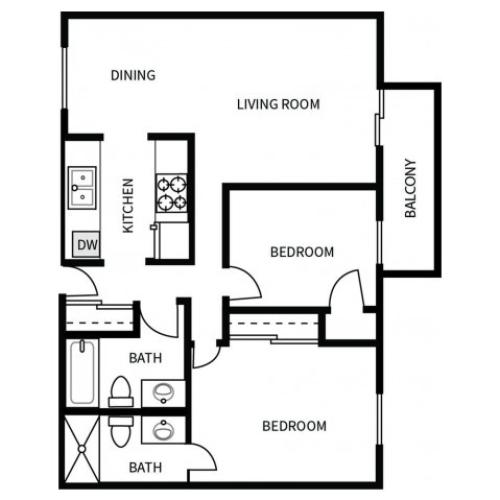 B3 Floorplan for Bayside Apartments in Pinole, CA