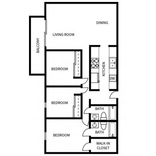 C1 Floorplan for Bayside Apartments in Pinole, CA