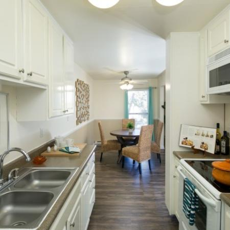 Model kitchen at Bayside Apartments in Pinole CA