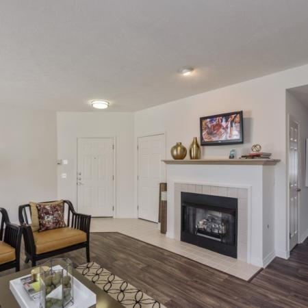 Cozy fireplaces available at The Residence at Barrington in Aurora, OH