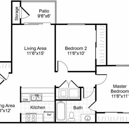 B1 2 bedroom 1 bathroom floorplan at Valley Trails Apartments in Irving, TX