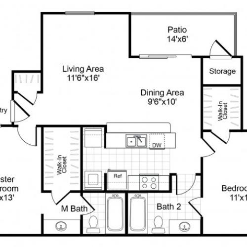 B2 2 bedroom 2 bathroom floorplan at Valley Trails Apartments in Irving, TX