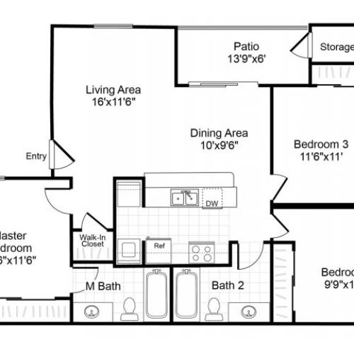 C1 3 bedroom 2 bathroom floorplan at Valley Trails Apartments in Irving, TX