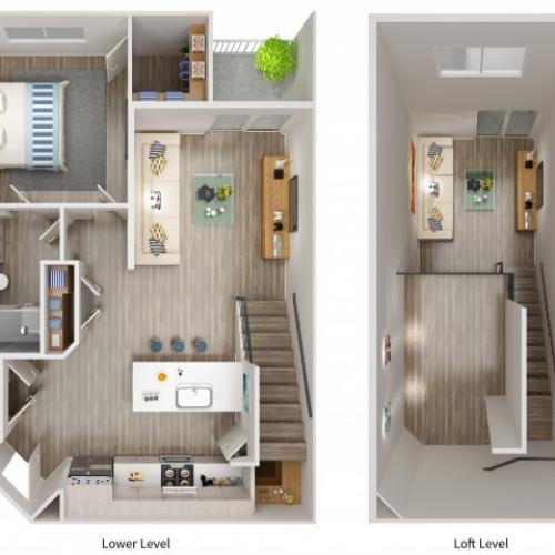 A4LWL Floorplan at South Beach Apartments in Las Vegas, NV