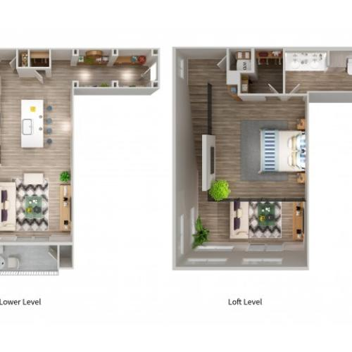 A6LWL Floorplan at South Beach Apartments in Las Vegas, NV