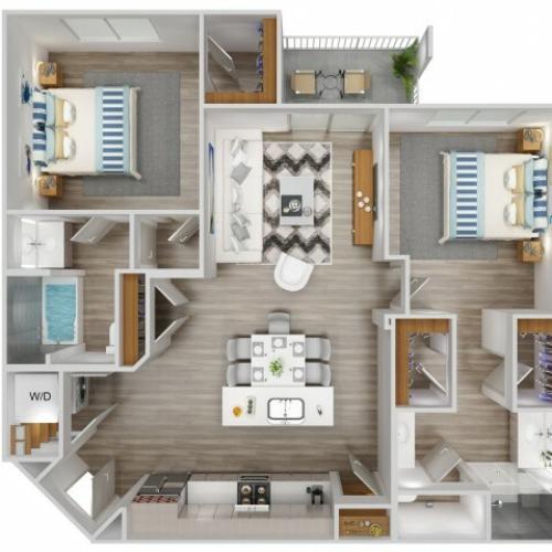 B3 Floorplan for South Beach Apartments in Las Vegas, NV