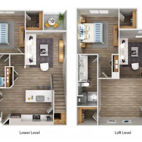 B5LWL Floorplan at South Beach Apartments in Las Vegas, NV