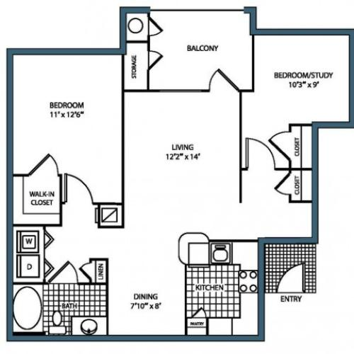B1 Floorplan at Heritage on the Merrimack Apartments in Bedford NH