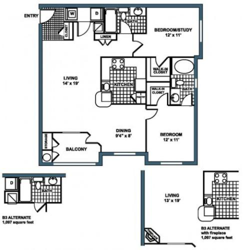 B3 Floorplan at Heritage on the Merrimack Apartments in Bedford NH