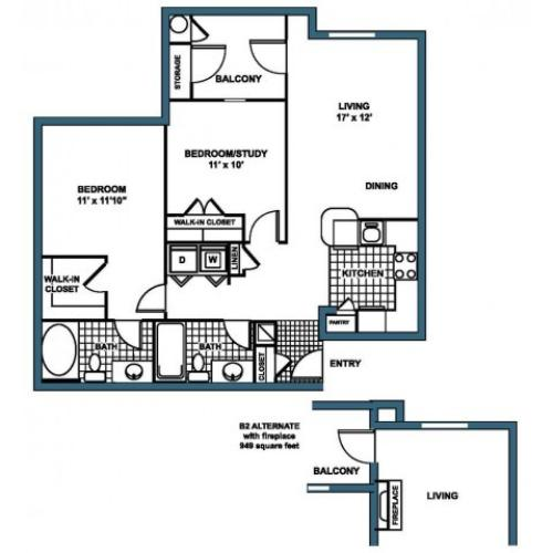 B2 Floorplan at Heritage on the Merrimack Apartments in Bedford NH