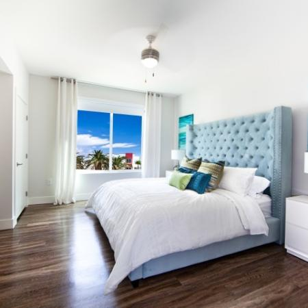 Bedroom at South Beach apartments in Las Vegas, NV