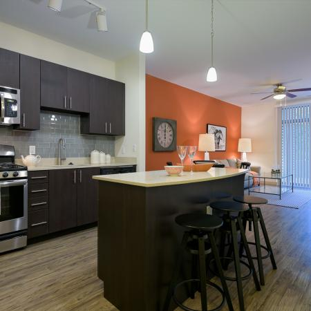 Entertainers dream kitchen with island and polished quartz countertops