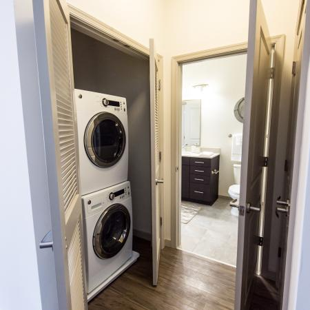 Stackable washer and dryer in every home at 7001 Arlington Apartments in Bethesda, MD