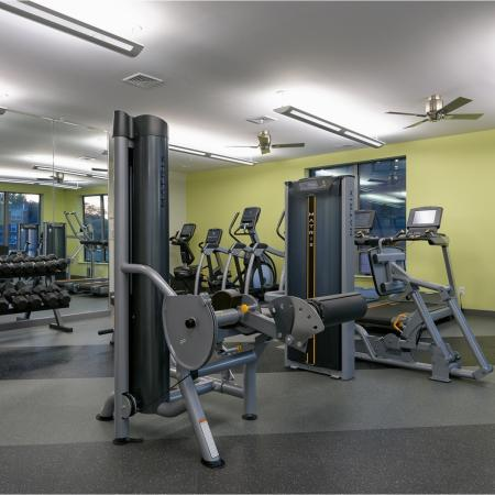 24-hour state-of-the-art fitness center with Matrix equipment at 7001 Arlington Apartments in Bethesda, MD