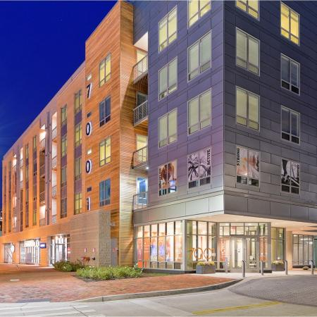 Striking night shot of 7001 Arlington which is located just two blocks from the Besthesda Metro Station