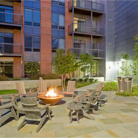 Outdoor firepit community area at 7001 Arlington Apartments in Bethesda, MD