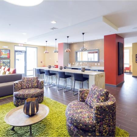 Resident clubhouse with plenty of room to spread out and equipped with complimentary Wi-Fi