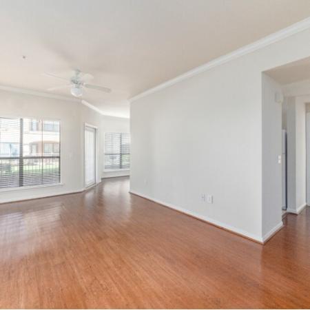 Vacant open living room at Parkway Senior Apartments in Pasadena TX