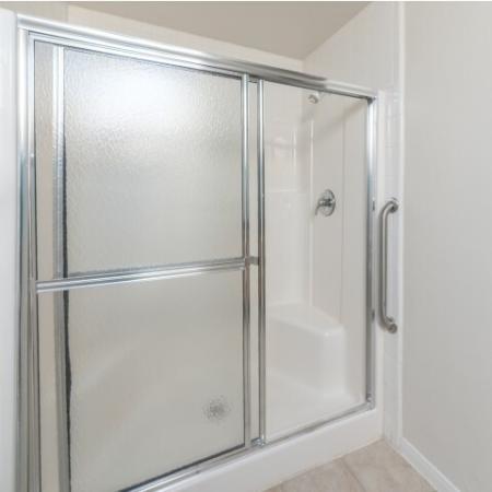 Walk-in shower at Parkway Senior Apartments in Pasadena TX