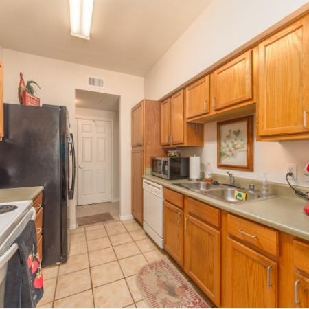 Fully equipped kitchens at Parkway Senior Apartments in Pasadena TX