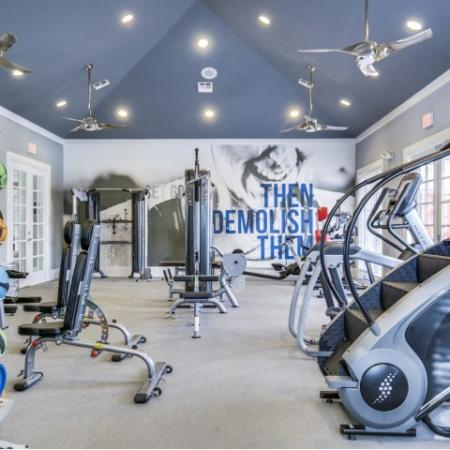 Fitness center at Montfair at the Woodlands apartments in Houston TX