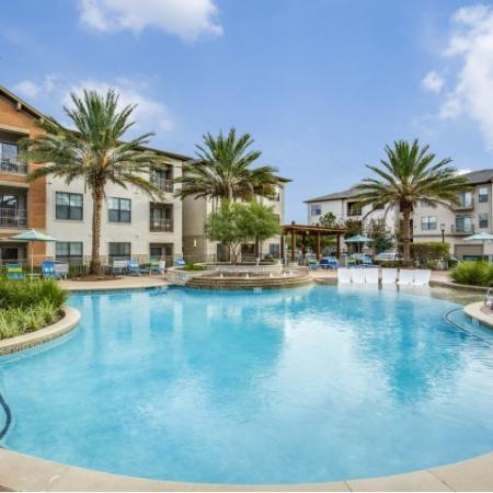 Pool at Montfair at the Woodlands apartments in Houston TX