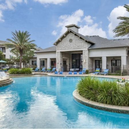 Resort style pool at Montfair at the Woodlands apartments in Houston TX