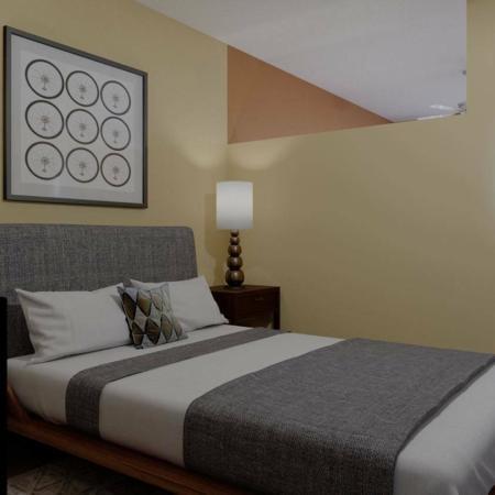 Studio bedroom at ArLo apartments in Portland, OR