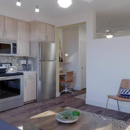 Kitchen at ArLo apartments in Portland, OR