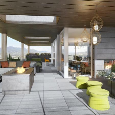 Outdoor deck at ArLo apartments in Portland, OR
