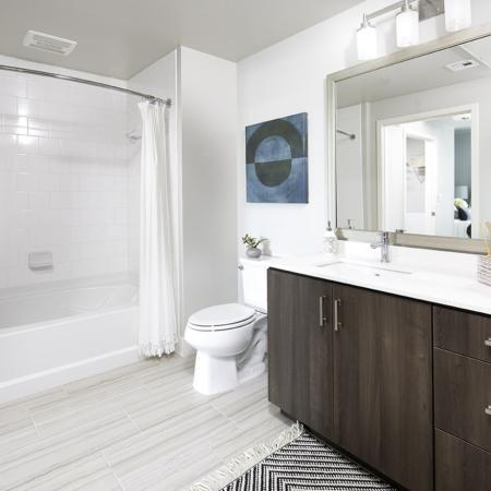 Bathroom at Vela on OX Apartments in Woodland Hills CA