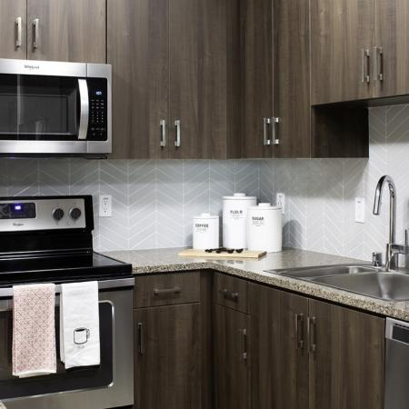 Kitchen close up at Vela on OX Apartments in Woodland Hills CA