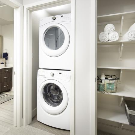 Washer and dryer at Vela on OX Apartments in Woodland Hills CA