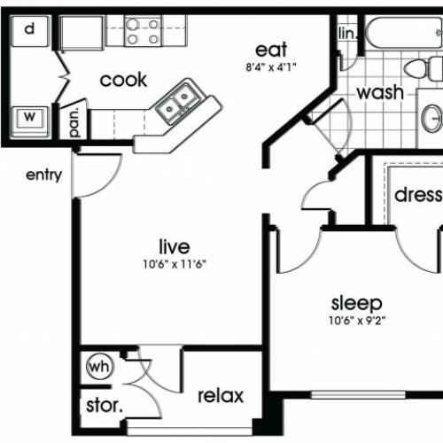A1 Floorplan for Parkway Senior Apartments in Pasadena TX