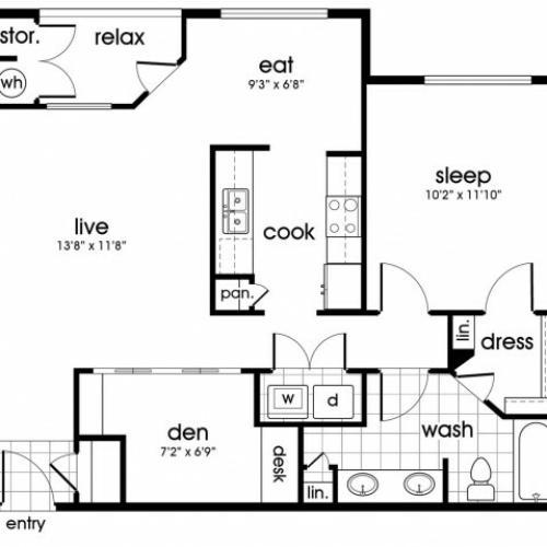A2 Floorplan for Parkway Senior Apartments in Pasadena TX