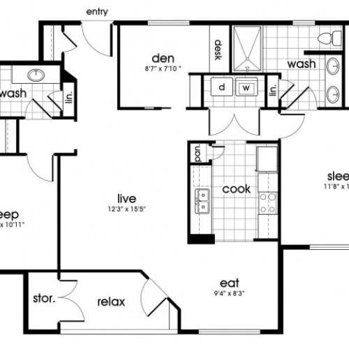 B2 Floorplan for Parkway Senior Apartments in Pasadena TX