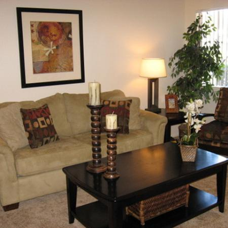 Model living room at Riverstone Apartment Homes in Antioch CA