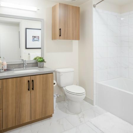 Guest bathroom at Aliso Apartments in Los Angeles CA
