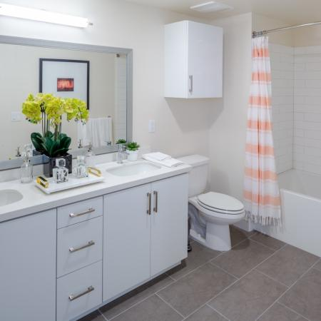 Master bathroom room at Aliso Apartments in Los Angeles CA
