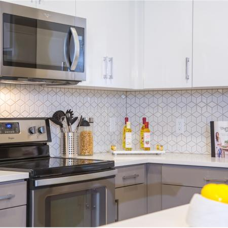 Kitchen backsplash at Aliso Apartments in Los Angeles CA