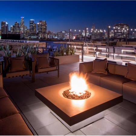 Rooftop lounge fire lounge at Aliso Apartments in Los Angeles CA