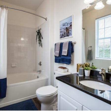 Bathroom at Heritage on the Merrimack Apartments in Bedford NH