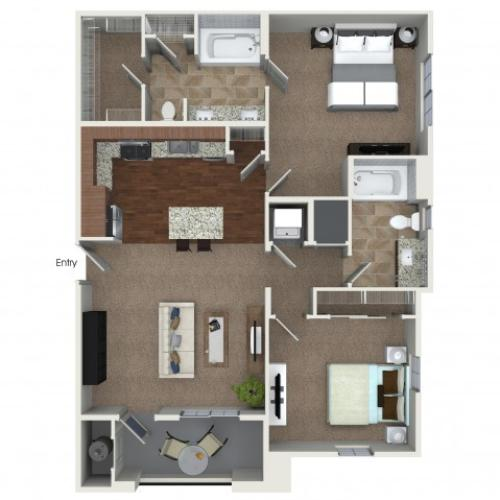 2 bedrooms 2 bathrooms B4 floorplan at Andorra Apartments in Camarillo, CA