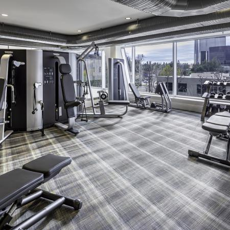 Fitness center at Vela on OX Apartments in Woodland Hills CA