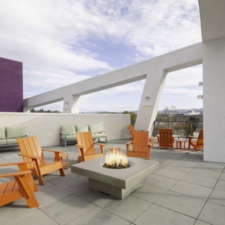 Rooftop deck at Vela on OX Apartments in Woodland Hills CA