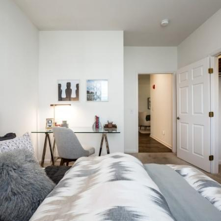 Bedroom at Heritage at The Merrimack apartments in Bedford, NH