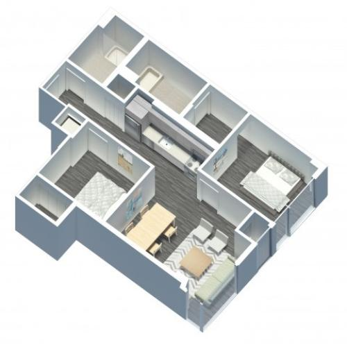 2 Bedroom 2 Bathroom floor plan with in unit washer and dryer