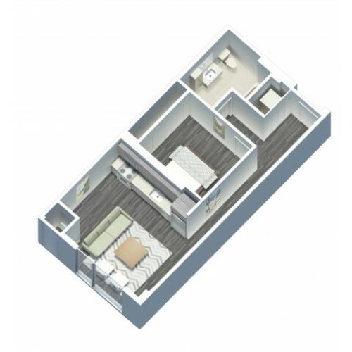 1 Bedroom 1 Bathroom floor plan with in unit washer and dryer