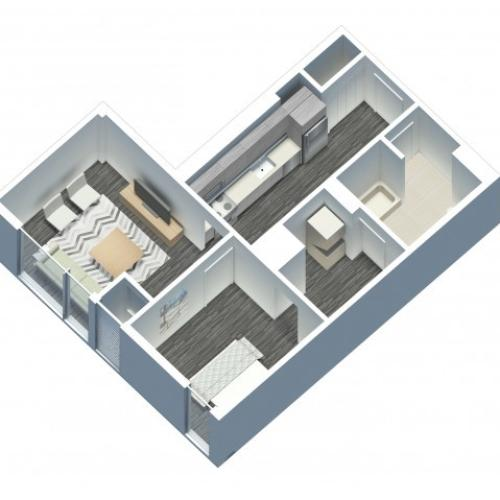1 Bedroom 1 Bathroom floor plan with in unit laundry