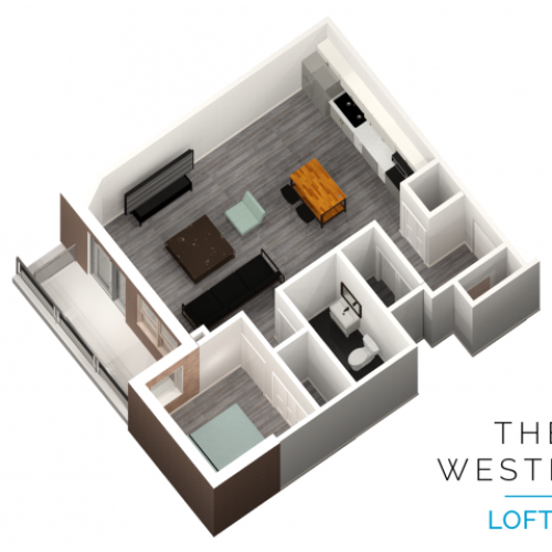 1 bedroom 1 bathroom floor plan at The Western